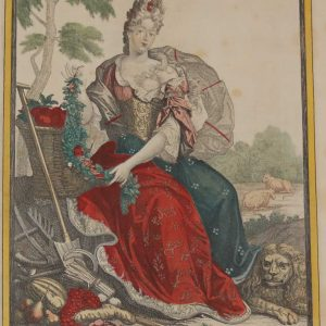 A vintage colour intaglio print done by Mourlot in 1944 after the original print from circa 1800 titled La Terre