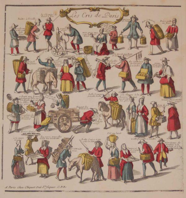 A vintage print, colour intaglio, done by Mourlot in 1944 after the original print from circa 1740 titled Les Cris de Paris.