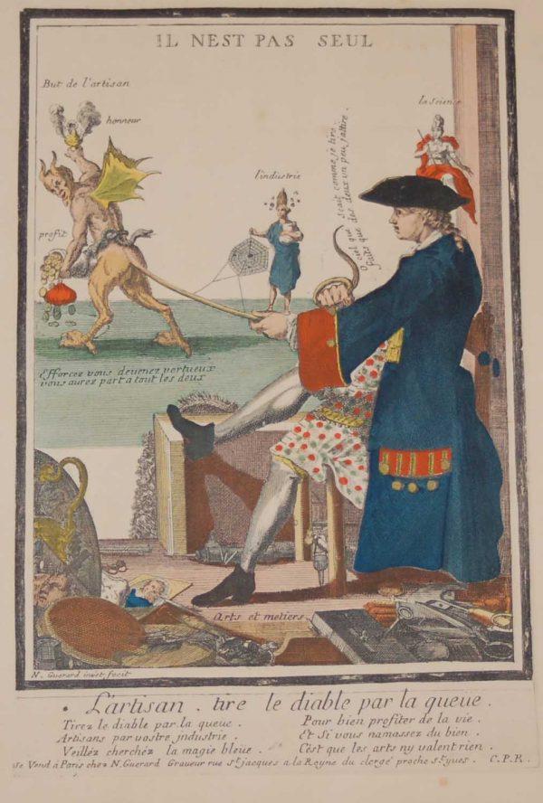 A vintage French art print print done by Mourlot in 1944 titled L'artisan tire le diable par la queue.