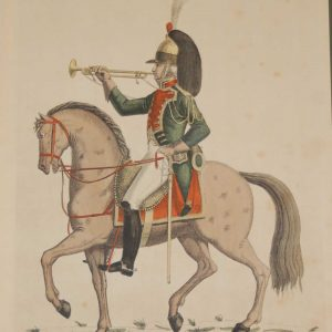 vintage colour intaglio print done by Mourlot in 1944 after the original print from circa 1800 titled Trompette du 9th Regiment de Dragons