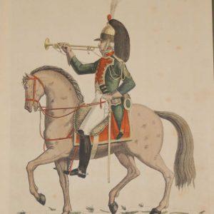 vintage colour intaglio print done by Mourlot in 1944 after the original print from circa 1800 titled Trompette du 9th Regiment de Dragons