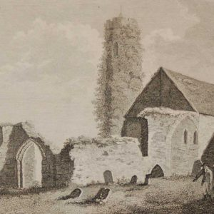 1797 Antique Print a copperplate engraving of the Church & Tower in Castledermot in County Kildare, Ireland, the Tower dating from the 10th century.