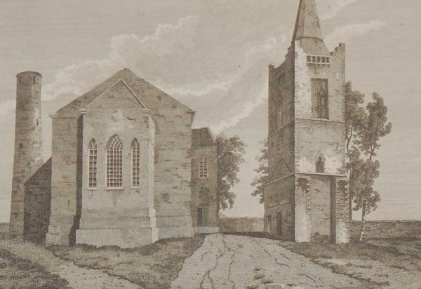 1797  copper plate engraving of the Church and Towers at Kell, County Meath, Ireland.