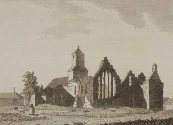 1797 antique print a copperplate engraving of Quin Abbey in County Clare, Ireland. Ennis Abbey dates from the 13th century.