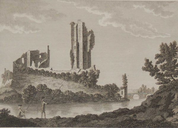 1797 antique print a copperplate engraving of Roackbarton Castle in County Limerick, Ireland.