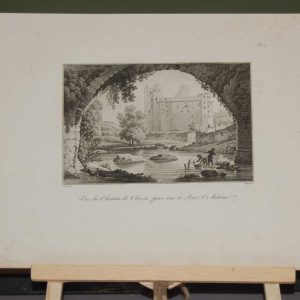 An aquatint from 1817 by the famous Austrian engraver Benedict Piringer, titled, Vue du Chateau de Clisson, pris sous le Pont St Antoine.