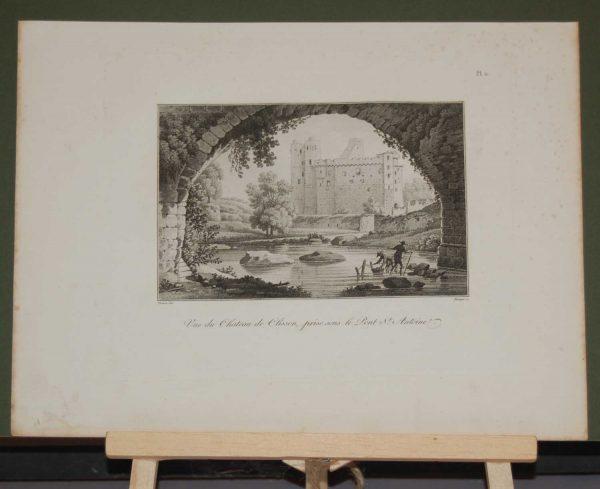An aquatint from 1817 by the famous Austrian engraver Benedict Piringer, titled, Vue du Chateau de Clisson, pris sous le Pont St Antoine.