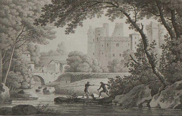 Vue du Chateau de Clisson, pris des lords de la Moine 1817 antique print