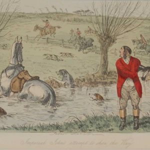 An 1858 hand coloured antique steel engraving by John Leech titled, Imperial John's Attempt to Show the Way, signed in the plate.