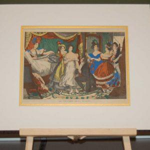 A vintage French art print, colour intaglio done by Mourlot in 1944 after the original print from circa 1835 titled Le Coucher De La Mariée.