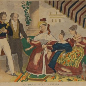 A  vintage French art print,  colour intaglio  done by Mourlot in 1944 after the original print from circa 1835 titled La Demande En Mariage.