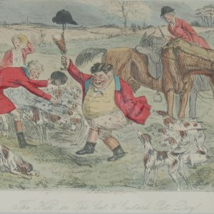1854 hand coloured antique steel engraving by John Leech titled, The Kill on the Cat & Custard Pot Day, signed in the plate.