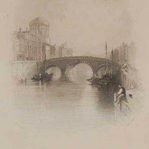 Antique print the Four Courts Dublin from 1837, mounted. The engraving is after a drawing by Thomas Creswick and was engraved by R Brandard.