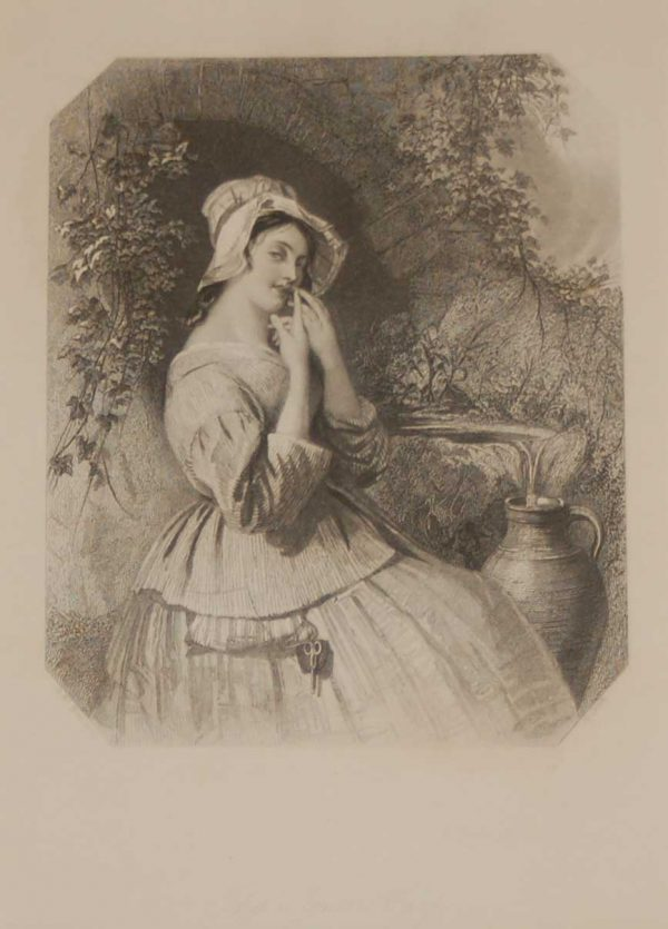 Antique print the Son's Harp, a steel engraving from 1837, mounted. The engraving is after a drawing by Daniel Maclise ARA and was engraved by H Cook.