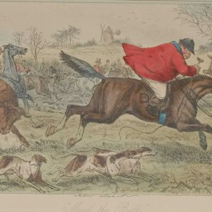 Original 1854 hand coloured antique sporting print, a steel engraving by John Leech titled, Mind The Bull.