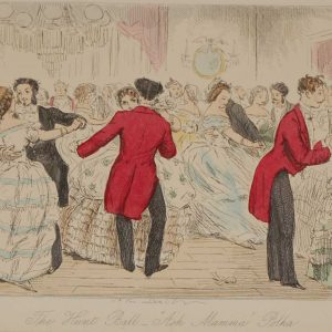 Original antique print from 1858 hand coloured , a steel engraving by John Leech titled, The Hunt Ball Ask Mama Polka