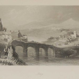 Antique print a steel engraving of Bray County Wicklow. The engraving is after a drawing by William Bartlett and was engraved by C Cousen.