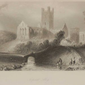 Antique print a steel engraving of Jerpoint Abbey in County Kilkenny. The engraving is after a drawing by William Bartlett and was engraved by C Cousen.