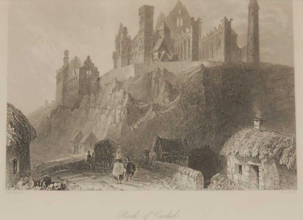 Antique print a steel engraving  of the Rock of Cashel in County Tipperary