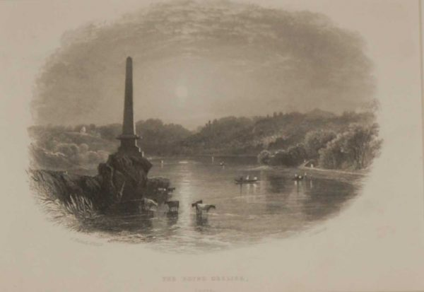 Antique print of the Boyne Obelisk, Louth, a steel engraving from 1871, mounted. The engraving is after a drawing by Andrew Nicoll ARHA .