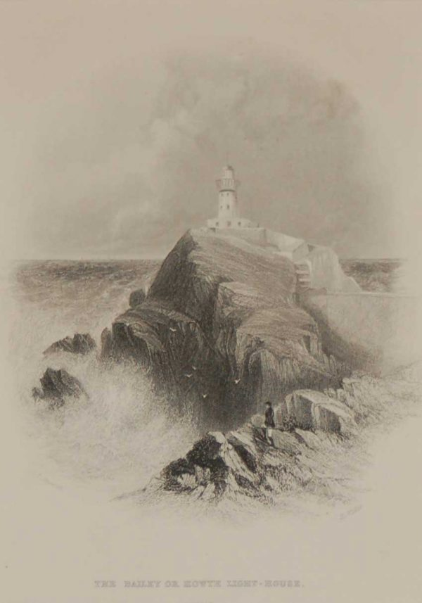 Antique print the Bailey or Howth Light House, Dublin, steel engraving, 1871. The engraving is after a drawing by Thomas Creswick.