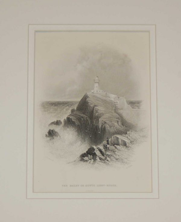 Antique print the Bailey or Howth Light House, Dublin, steel engraving, 1871. The engraving is after a drawing by Thomas Creswick, engraved by H Willis.