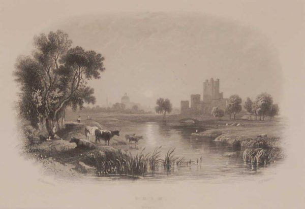 Antique print Trim County Meath, a steel engraving from 1871, mounted. The engraving is after a drawing by Henry Gastineau.