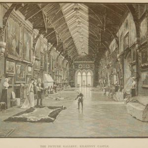 Antique print an engraving of the Picture Gallery in Kilkenny Castle, County Kilkenny, Ireland done in 1892