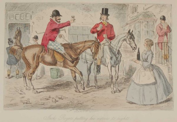 1858 hand coloured antique steel engraving by John Leech titled, Jack Rodgers Putting His Horse to Rights, signed in the plate.