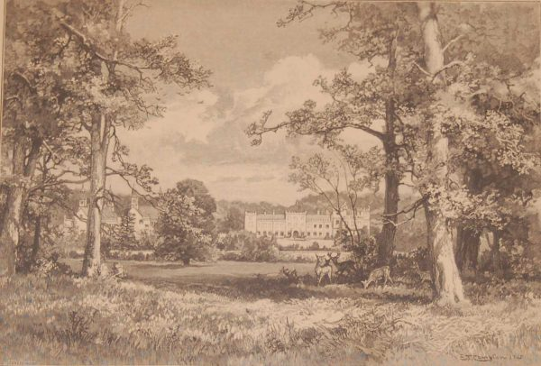 A beautiful sepia toned engraving of Welbeck Abbey from the West. This antique print was published in 1892 by Cassell and Company