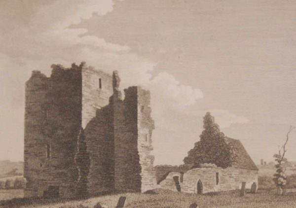 1797 Antique Print a copper plate engraving of the North East View, Tara Church, County Meath, Ireland.