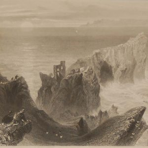 1841 Antique Steel engraving of Kinbane Castle in Antrim. The print was engraved by C Richardson and is after a drawing by William Bartlett.