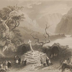 1841 Antique Steel engraving titled Scene at Gougane Barra. The print was engraved by R Brandard and is after a drawing by William Bartlett.
