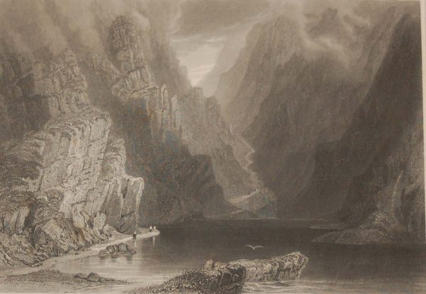 1841 Antique Steel engraving titled Gap of Dunloe. The print was engraved by J T Wilmore and is after a drawing by William Bartlett.