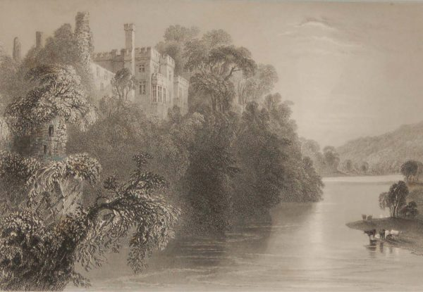 1841 Antique Steel engraving of Lismore Castle in Waterford. The print was engraved by E Benjamin and is after a drawing by William Bartlett.