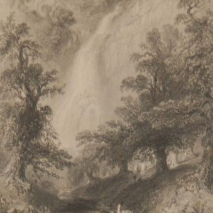 1841 Antique Steel engraving titled Powerscourt Waterfall, Wicklow. The print was engraved by J Cousen and is after a drawing by William Bartlett.