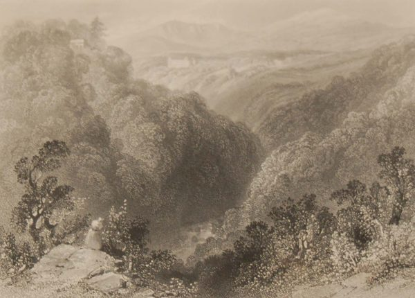 1841 Antique Steel engraving titled Powerscourt from the Dargle. The print was engraved by G K Richardson and is after a drawing by William Bartlett.