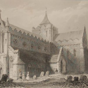 1841 Antique Steel engraving of St Canice's Cathedral in Kilkenny. The print was engraved by James Carter and is after a drawing by William Bartlett.