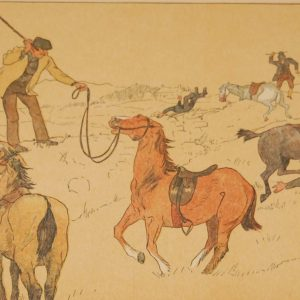 "Beautiful antique sporting print , a chromolithograph, published in 1902, after Edith Somerville, titled ""Great Banks There was a Bellow in the Fields""."
