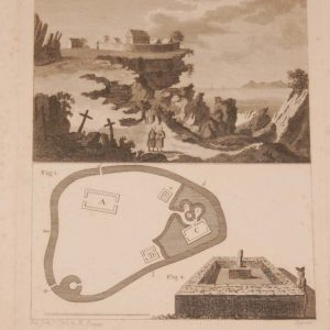 "Two part copper plate engraving of, Dun Aengus Fort in Co Galway. titled on the print ""Dun Oengus"" and plan and drawing of Innismurry in Sligo."