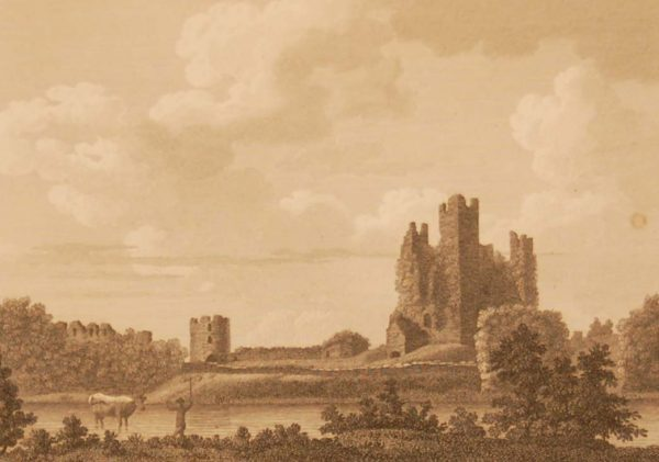 1797 antique print of Trim Castle in County Meath, Ireland. Published in London it was engraved by James Newton.