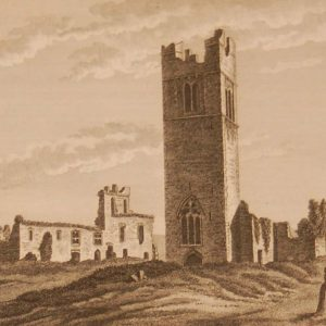 1797 antique print a copper plate engraving of Slanes College in County Meath, Ireland.