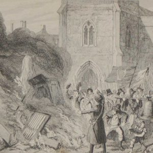 Destruction of the Church at Enniscorthy 1864 antique print