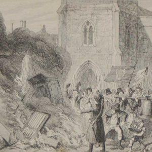 Destruction of the Church at Enniscorthy 1864 antique print