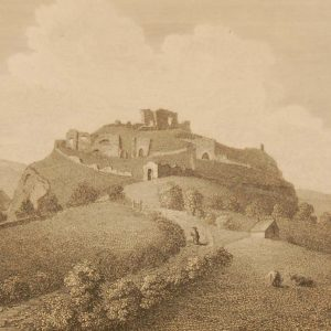 1797 antique print a copperplate engraving of Dunamase Castle, County Laois, Ireland.