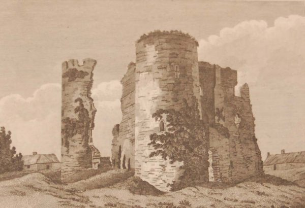 1797 copper plate engraving of the Castle of Ferns in County Wexford, Ireland.