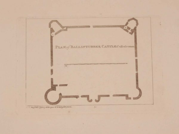 Antique print, from 1797 a copperplate engraving of a plan for Ballintubber Castle in County Roscommon, after original drawings by Francis Grose.