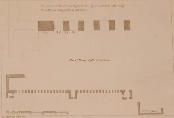 Antique print, from 1797 a copperplate engraving of a plan for Newark Castle in County Down, after original drawings by Francis Grose.