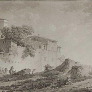 aquatint from 1817 by the famous Austrian engraver Benedict Piringer, titled, Vue de la maison du Jardinier, á l'entree du Bois de la Garenne á Clisson
