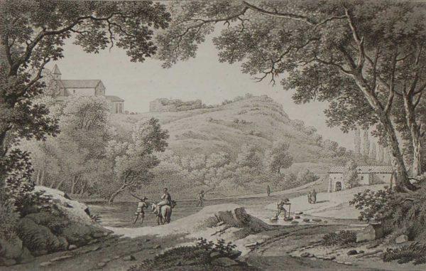 Aquatint from 1817 by the famous Austrian engraver Benedict Piringer, titled, Vue du passage du Torrent appelé la Sanguése, et des ruines de la maison d'Abailard au pallet, sur la route de Nantes á Clisson